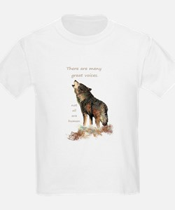 Many Great Voices Inspirational Wolf Quote T-Shirt