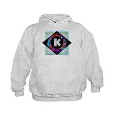 K - Letter K Monogram - Black Diamond Hoodie