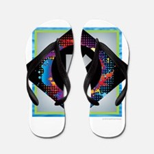 K - Letter K Monogram - Black Diamond K Flip Flops
