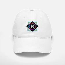 K - Letter K Monogram - Black Diamond K - Lett Baseball Baseball Cap