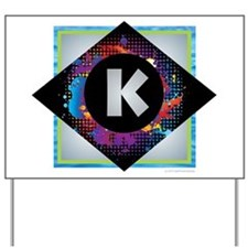 K - Letter K Monogram - Black Diamond K Yard Sign