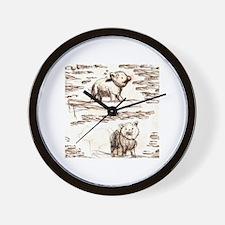 Piggy Bank Toile Wall Clock