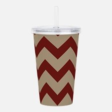 Burgundy and Tan Chevr Acrylic Double-wall Tumbler