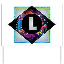 L - Letter L Monogram - Black Diamond L Yard Sign