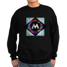 M - Letter M Monogram - Black Di Sweatshirt