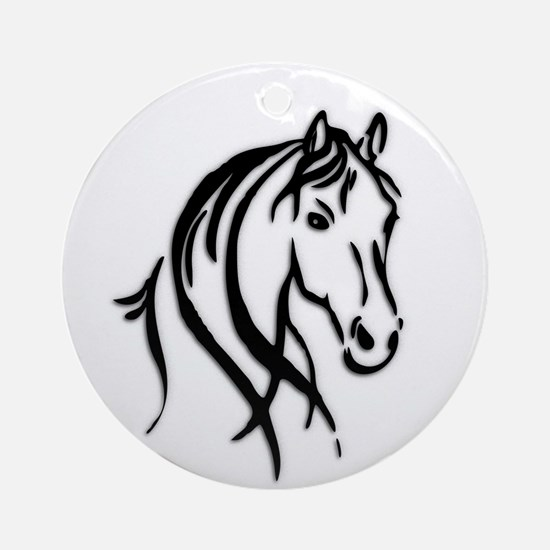 Black Horse Ornament (Round)