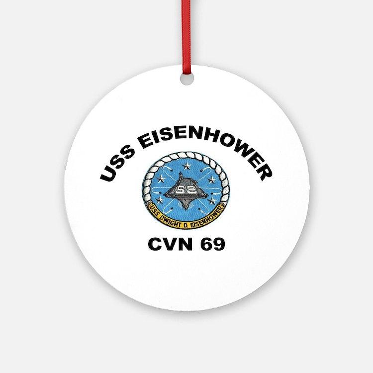 USS Eisenhower CVN 69 Ornament (Round)