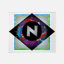 N - Letter N Monogram - Black Diamon Throw Blanket