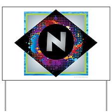 N - Letter N Monogram - Black Diamond N Yard Sign