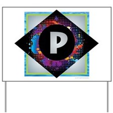 P - Letter P Monogram - Black Diamond P Yard Sign