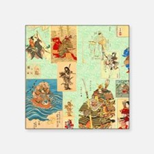 "Japanese Samurai Warriors M Square Sticker 3"" x 3"""