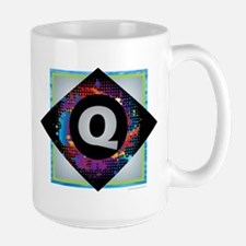 Q - Letter Q Monogram - Black Diamond Q - Let Mugs