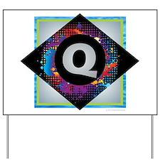 Q - Letter Q Monogram - Black Diamond Q Yard Sign