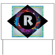 R - Letter R Monogram - Black Diamond R Yard Sign