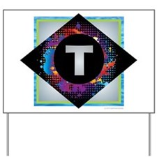 T - Letter T Monogram - Black Diamond T Yard Sign