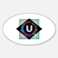 U - Letter U Monogram - Black Diamond U - Decal