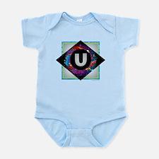 U - Letter U Monogram - Black Diamond U Body Suit