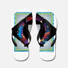 U - Letter U Monogram - Black Diamond U Flip Flops