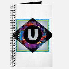 U - Letter U Monogram - Black Diamond U - Journal