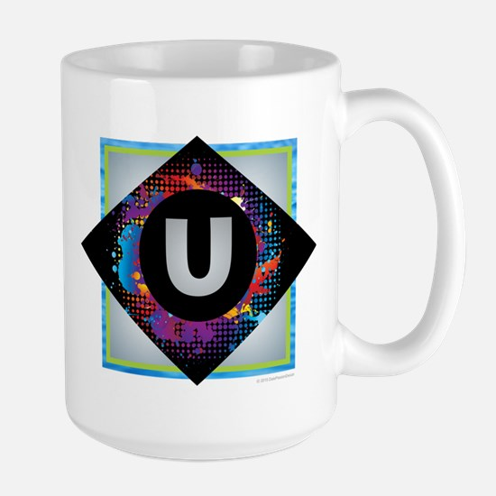 U - Letter U Monogram - Black Diamond U - Let Mugs