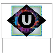 U - Letter U Monogram - Black Diamond U Yard Sign