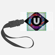 U - Letter U Monogram - Black Di Luggage Tag