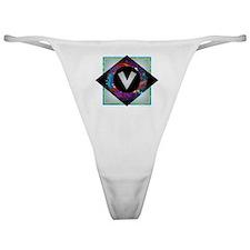 V - Letter V Monogram - Black Diamon Classic Thong