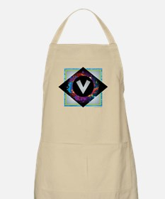 V - Letter V Monogram - Black Diamond V - Le Apron