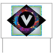 V - Letter V Monogram - Black Diamond V Yard Sign