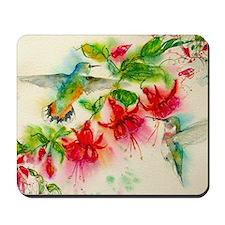 Hummingbirds in Fuschia Garden 2 Mousepad