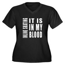 Inline Skati Women's Plus Size V-Neck Dark T-Shirt