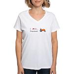 I Love Orange Tractors Women's V-Neck T-Shirt