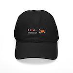 I Love Orange Tractors Black Cap