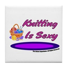 Knitting Is Sexy Tile Coaster