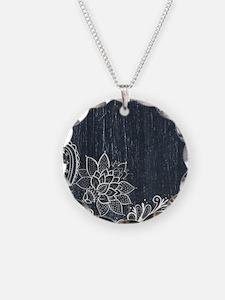 white lace black chalkboard Necklace