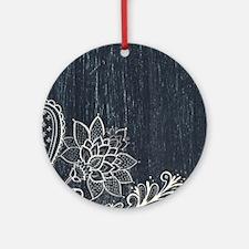 white lace black chalkboard Round Ornament