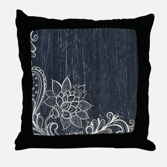 white lace black chalkboard Throw Pillow