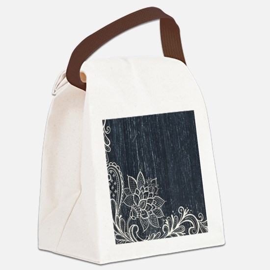 white lace black chalkboard Canvas Lunch Bag
