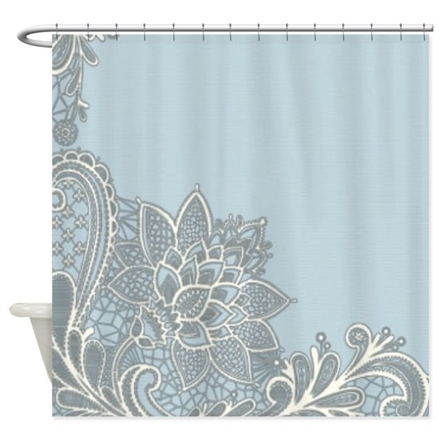 white lace pastel blue shower curtain by listing store 62325139. Black Bedroom Furniture Sets. Home Design Ideas