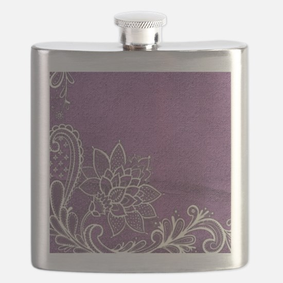 purple abstract white lace Flask