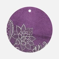 purple abstract white lace Round Ornament