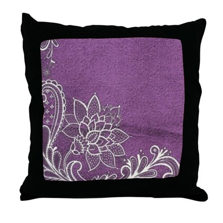 purple abstract white lace Throw Pillow by listing-store-62325139