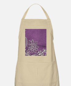 purple abstract white lace Apron