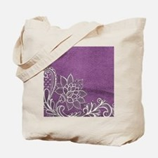 purple abstract white lace Tote Bag