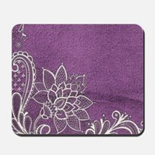 purple abstract white lace Mousepad
