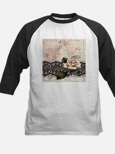 paris black lace white rose Baseball Jersey