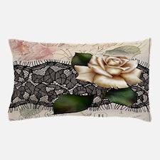 paris black lace white rose Pillow Case
