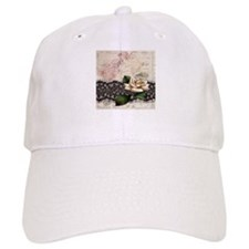 paris black lace white rose Baseball Cap