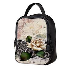 paris black lace white rose Neoprene Lunch Bag