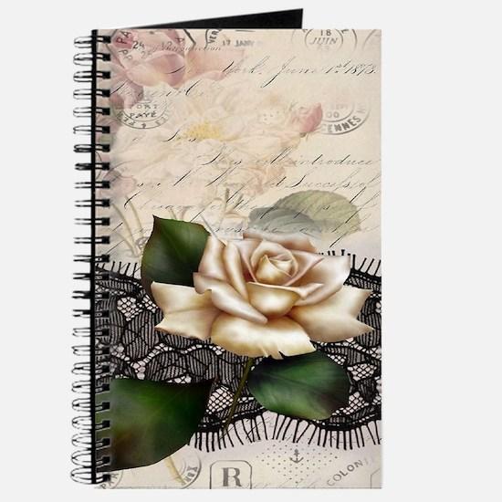 paris black lace white rose Journal